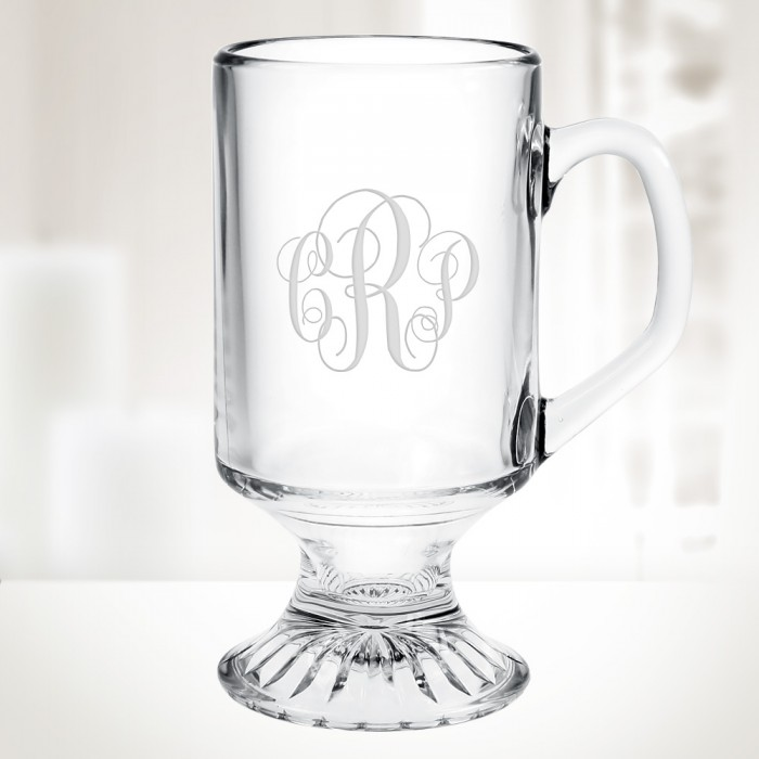 Personalised 10oz Coffee Footed Mug Glass Engraved With Any Message Gift